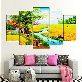 Tranh treo tường phòng khách, phòng ngủ, phòng ăn phong cảnh đồng quê việt nam:4453L5F