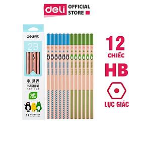 Bút chì 2B Deli - viết chì - họa tiết đáng yêu - 12 chiếc/hộp - WS913