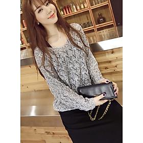 Áo len mỏng nữ dài tay dệt quả trám ALen03 (Xám)