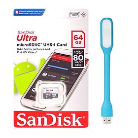 Thẻ Nhớ Micro SDXC SanDisk UHS-1 64GB Class 10 - 80MB/s - Hàng Chính Hãng + Tặng đèn Led