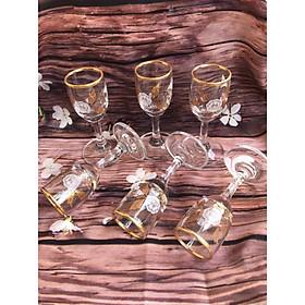 Bộ 6 ly uống rượu chân cao khảm vàng họa tiết hoa lá_30ml