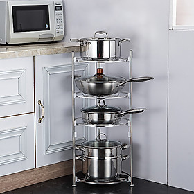 Kệ nhà bếp hình tròn 4 tầng INOX 304 cao cấp đựng xoong nồi, kệ để đồ đa năng tiết kiệm không gian bếp VANDO