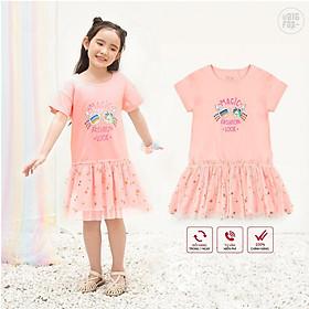 Váy Cotton Cho Bé Gái Mùa Hè, Miss Meow, Size Đại. Đầm Trẻ em Phối Lưới In Kính Mắt (BF)