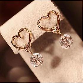Bông tai khuyên tai thời trang nữ hình quả tim đính viên kim cương nhân tạo
