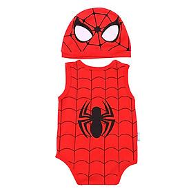 Bộ Bodysuit Ngắn Người Nhện Kèm Nón MihaBaby BDS07_SPIDERMAN - Đỏ