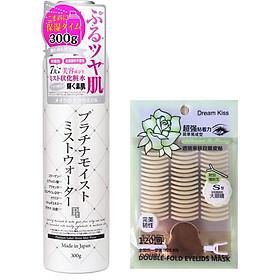 Combo 1 xịt khoáng dưỡng ẩm trắng da Platinum Lable Nhật Bản ( 300G vỏ xám) + 1 gói dán kích mí ( 120 miếng)