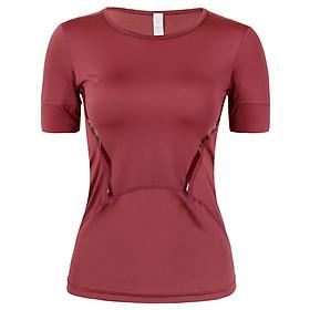 Áo thun thể thao body tập gym yoga nữ đỏ sọc