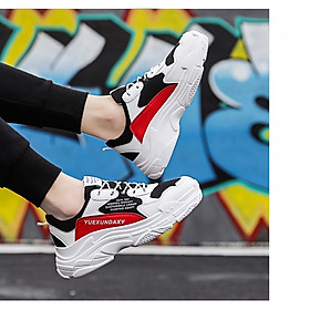 Giày Nam Thể Thao Sneaker Trắng Vải Dệt Đế Cao Su Nguyên Khối Siêu Êm Chân Phối Đen Đỏ Cực Chất Phong Cách Hàn Quốc (Hình thật) CTS-GN052-5