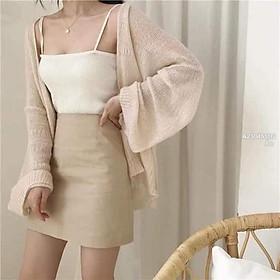 ( Có Sẵn) Áo khoác len mỏng form rộng tay dài! ( kèm hình chụp thật)