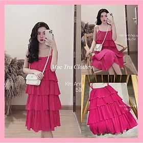 Đầm hai dây dập ly tầng dáng suông vintage màu hồng tiểu thư siêu xinh, Váy dự tiệc thiết kế 2 dây xuông nữ đi biển xếp tầng rẻ đẹp trẻ trung