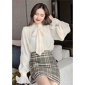 Áo kiểu nữ công sở Louro L200, cổ buộc nơ, kiểu dáng điệu đà, chất liệu vải nhún cao cấp