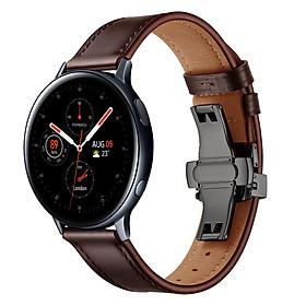 Dây Da Khóa Bướm Đen Chống Gãy Size 20mm Cho Galaxy Watch Active 1 / Galaxy Watch 42 / Galaxy Watch Active 2