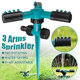 Garden Sprinkler 360°Rotating Adjustable 3 Arms Lawn Gardening Watering System