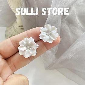 Khuyên tai bông tai hoa trắng chuôi bạc 925 Sulli store