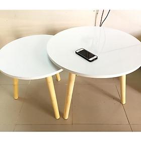 Cặp bàn tròn gỗ sofa phòng khách 60-50, bàn trà, bàn cafe, coffee, cà phê, bàn salon, sopha