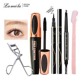 Bộ trang điểm mắt LAMEILA Mascara + kẻ mắt dạng lỏng + uốn lông mi mang đi du lịch + dao tỉa lông mày + chì kẻ mày