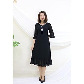 Đầm Thiết kế Đầm xòe Đầm thời trang công sở Đầm trung niên thương hiệu TTV351 đen - Đầm form A tay chuông phối ren CD