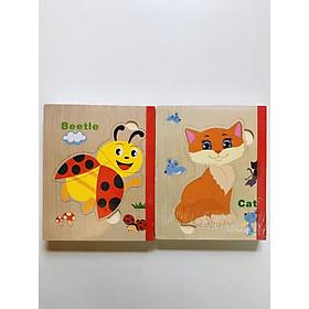 Sách gỗ ghép hình - Combo 2 cuốn sách gỗ ghép hình cho bé 1 tuổi Gnu09
