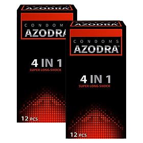 Bộ 2 Bao cao su Malaysia  Azodra 4 in 1 - kéo dài thơi gian - 24 chiếc