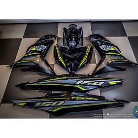 Tem dán dành cho xe máy Exciter 150 mẫu Y15ZR xanh chuối Rời xe đen (bộ)