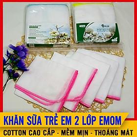 [Set 10 Chiếc] Khăn Sữa Cho Bé Sơ Sinh 2 Lớp Emom, 100% Cotton Cao Cấp, Siêu Mềm Mịn, Thoáng Mát