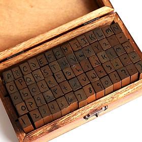 Bộ 70 con dấu gỗ Chữ cái Alphabet (Chữ kiểu)