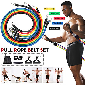 11PCS Fitness Rubber Loop Resistance Bands Set Pull Rope  Gym Equipment Workout Fitness Exercise with Carry Bag