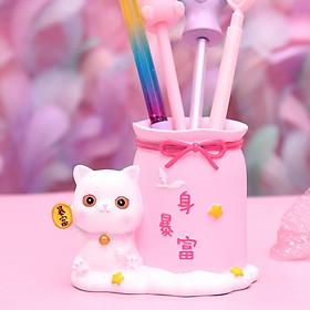 Ống Cắm Bút, Đựng Cọ Trang Điểm, Đựng Văn Phòng Phẩm Mèo Lucky