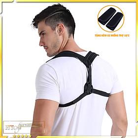 Đai chống gù lưng nam nữ HT SYS Back Posture Corrector-Kiểu dáng chữ Y-Freesize-Màu đen-Tặng kèm 2 miếng trợ lực đệm vai