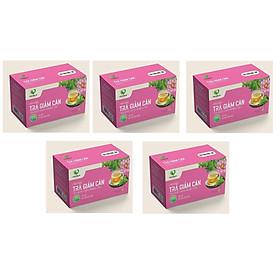 Bộ 5 trà giảm cân 100% từ thảo dược tự nhiên.