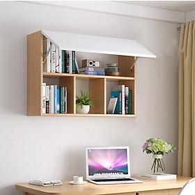 Tủ Sách Văn Phòng Treo Tường 3 Ngăn Có Cánh SIB DECOR (Không gồm đồ trang trí trên kệ)