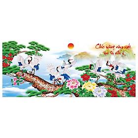 Tranh dán tường Bạch Hạc Trường Thọ Chúc Mừng Năm Mới LunaTM-0092 KT 166 x 70 cm