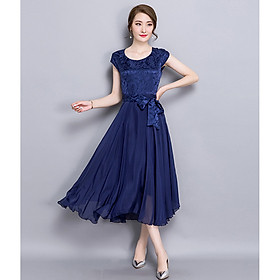 Slim-fit silk A-line pleated skirt fashionable and elegant plus size dress