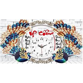 Tranh thêu chữ thập đồng hồ chim công vợ chồng X8139