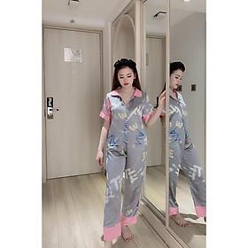 Đồ Bộ Pijama Nữ Đồ Bộ Mặc Nhà Nữ Tay Ngắn, Quần Dài Chất SATIN  Cao Cấp, Không Nhăn Form<60kg Vừa Đẹp