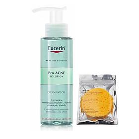 Gel rửa mặt dành cho da nhờn mụn Eucerin ProAcne Cleansing Gel 200ml + tặng bọt biển rửa mặt