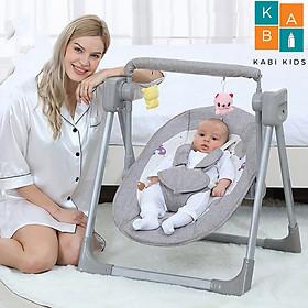 Nôi điện cho bé có chế độ hẹn giờ rung 5 cấp độ có nhạc ru kết nối từ xa có thể mang đi xa và túi cất giữ Gấp Siêu Gọn