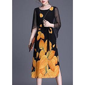 Đầm Suông Tay Cánh Tiên Cành Hoa Trắng Kiểu Đầm Thời Trang Trung Niên Dự Tiệc Nhiều Size ROMI 3265