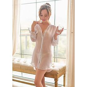 Váy Ngủ Sơ Mi Giấu Quần Xuyên Thấu VN115 - Trắng