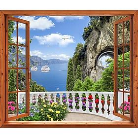 Tranh dán tường cửa sổ gỗ 3D cảnh biển đẹp VTC GO0226-1