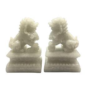 Cặp tượng đá trang trí kỳ lân - đá non nước