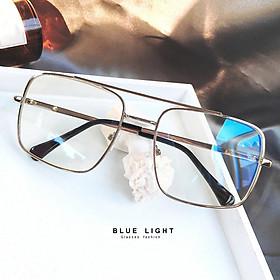 Kính Giả Cận, Gọng Kính Cận Nam Nữ Mắt Vuông To Gọng Bạc Hàn Quốc - BLUE LIGHT SHOP
