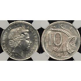 Đồng xu Úc 10 cent in hình Nữ hoàng Elizabeth II đã già