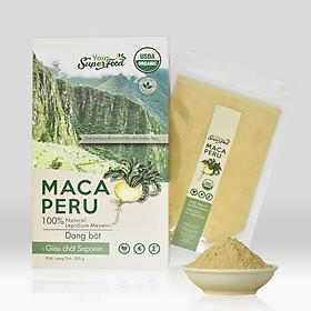 Bột Maca Hữu Cơ Hộp 200g - Nhập khẩu từ Peru (Bột Maca còn được gọi là Sâm Peru, tính dược liệu cao, hỗ trợ tốt cho chức năng sinh lý nam nữ)