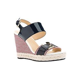 Giày Sandal Đế Xuồng Nữ GEOX D JANIRA E GBK PAT+GBK NAVY - Đen