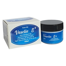 Kem dưỡng da chống nẻ Vaselin E+ . Tăng độ đàn hồi, giảm thiểu các nếp nhăn. Siêu giữ ẩm, tái tạo da. Dễ rửa trôi không bết dính. Hộp x 20ml
