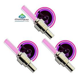 Bộ 3 Đèn LED gắn van đổi màu cho bánh xe máy ô tô 206131 3C(Hồng)