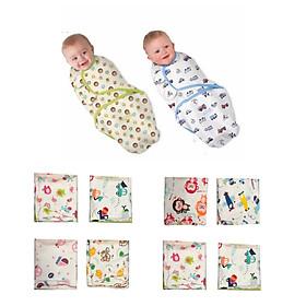 Chăn ủ quấn sơ sinh cotton mềm, mịn, mát cho bé - Màu sắc & họa tiết ngẫu nhiên
