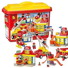 Đồ chơi mô hình lắp ghép - Chính hãng Hàn Quốc - Tạm Cứu Hoả Oxford OFD2082 (Fire Station) Express) bao gồm 115 mảnh ghép nhựa ABS cao cấp, an toàn - Dành cho trẻ em từ 3 tuổi