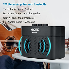 AROMA AG-05 Bluetooth Electric Guitar Amp Amplifier 5-Watt Stereo Output Distortion Gain Tone Control 3.5mm Monitoring